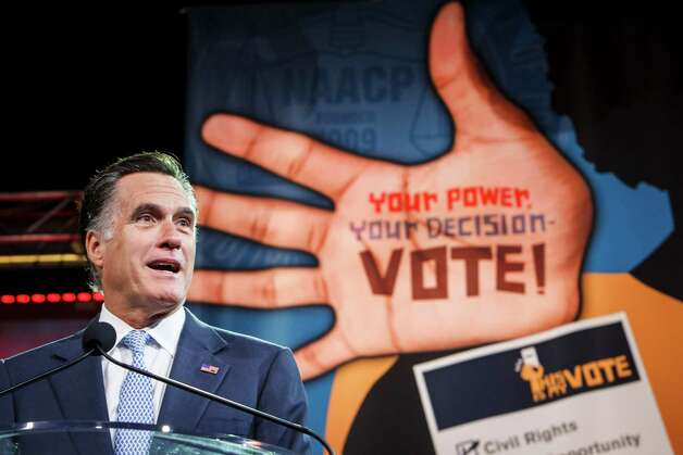 Republican presidential candidate Mitt Romney delivers remarks at the 103rd NAACP National Convention at the George R. Brown Convention Center, Wednesday, July 11, 2012, in Houston. Photo: Michael Paulsen, Houston Chronicle / © 2012 Houston Chronicle