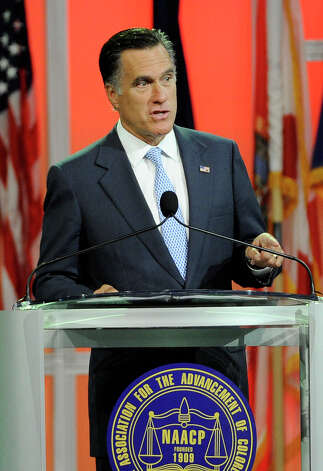 Republican presidential candidate, former Massachusetts Gov. Mitt Romney speaks at the NAACP annual convention, Wednesday, July 11, 2012, in Houston. Photo: Pat Sullivan, Associated Press