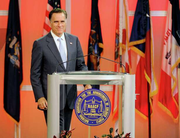 Republican presidential candidate, former Massachusetts Gov. Mitt Romney arrives to speak at the NAACP annual convention, Wednesday, July 11, 2012, in Houston. Photo: Pat Sullivan, Associated Press