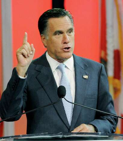 Republican presidential candidate,former Massachusetts Gov. Mitt Romney gestures during a speech to the NAACP annual convention, Wednesday, July 11, 2012, in Houston. Photo: Pat Sullivan, Associated Press