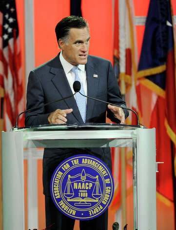Republican presidential candidate, former Massachusetts Gov. Mitt Romney gestures during a speech to the NAACP annual convention, Wednesday, July 11, 2012, in Houston. Photo: Pat Sullivan, Associated Press