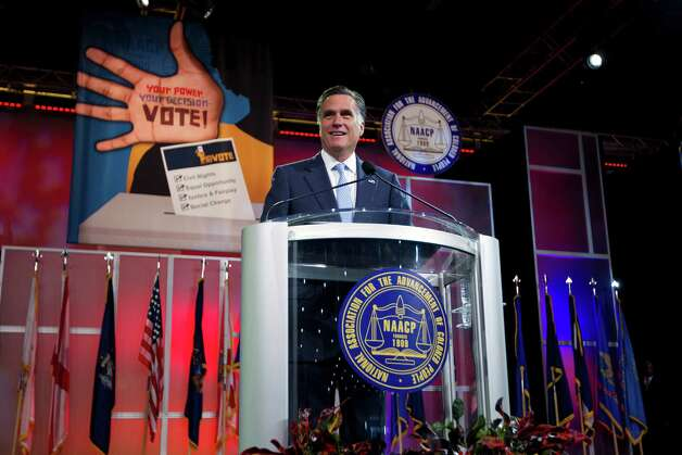 Republican presidential candidate, former Massachusetts Gov. Mitt Romney speaks before the NAACP annual convention, Wednesday, July 11, 2012, in Houston, Texas. Photo: Evan Vucci, Associated Press