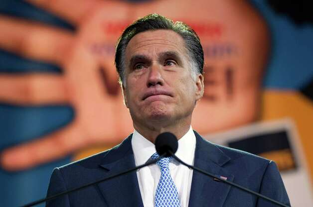 Republican presidential candidate, former Massachusetts Gov. Mitt Romney pauses during a speech to the NAACP annual convention, Wednesday, July 11, 2012, in Houston, Texas. Photo: Evan Vucci, Associated Press