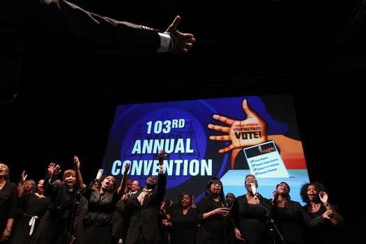 The Community of Faith Mass Choir performs at the NAACP convention on Thursday, July 12, 2012. Photo: Johnny Hanson, Houston Chronicle