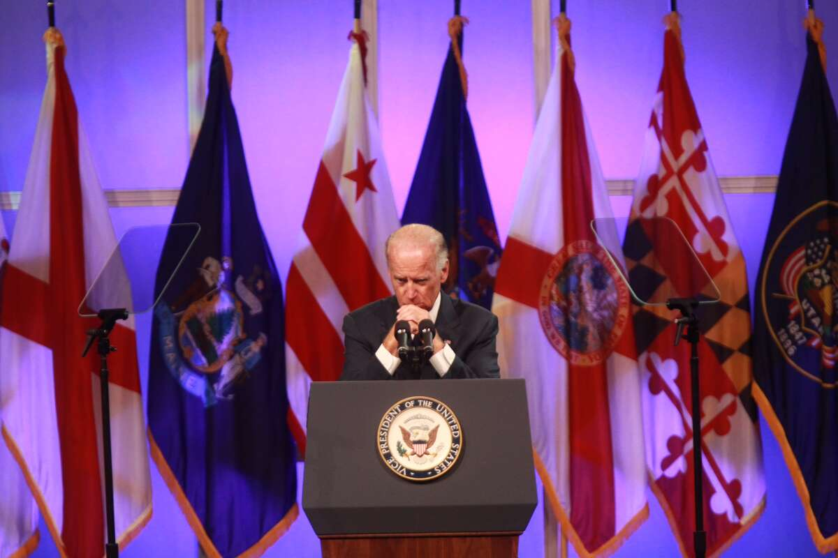 Vice President Joe Biden addresses the NAACP convention in Houston Thursday morning.