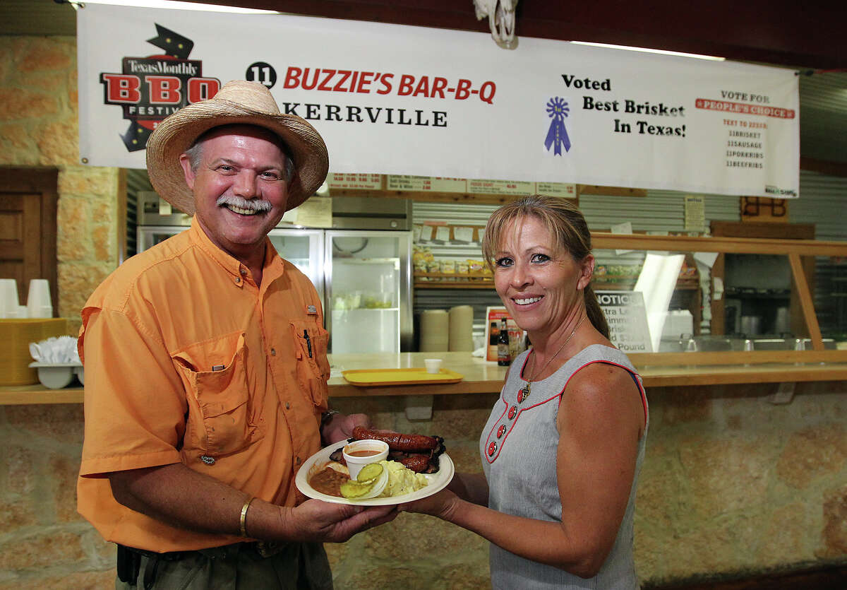 """Harold """"Buzzie"""" Hughes (left) and his wife Brenda opened Buzzie's BBQ in 1993. Since that time, Buzzie's went from Comfort, Texas where they started and moved to Kerrville. Buzzie's has been mentioned in Texas Monthly as one of the 50 best in the state. The Hughes pride themselves on providing quality and plentiful barbecue at an affordable price."""