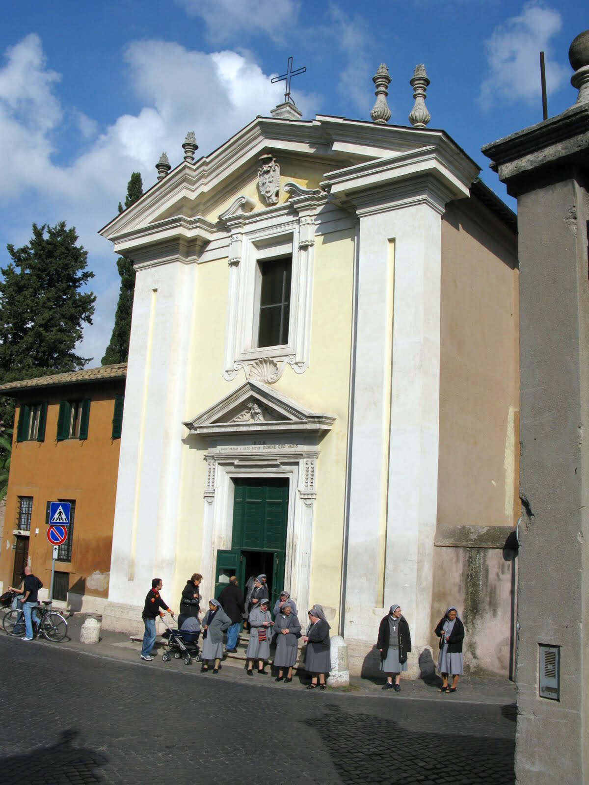 Worshippers gather outside the Domine Quo Vadis Church along Rome's Appian Way, where St. Peter purportedly had a vision of Jesus.