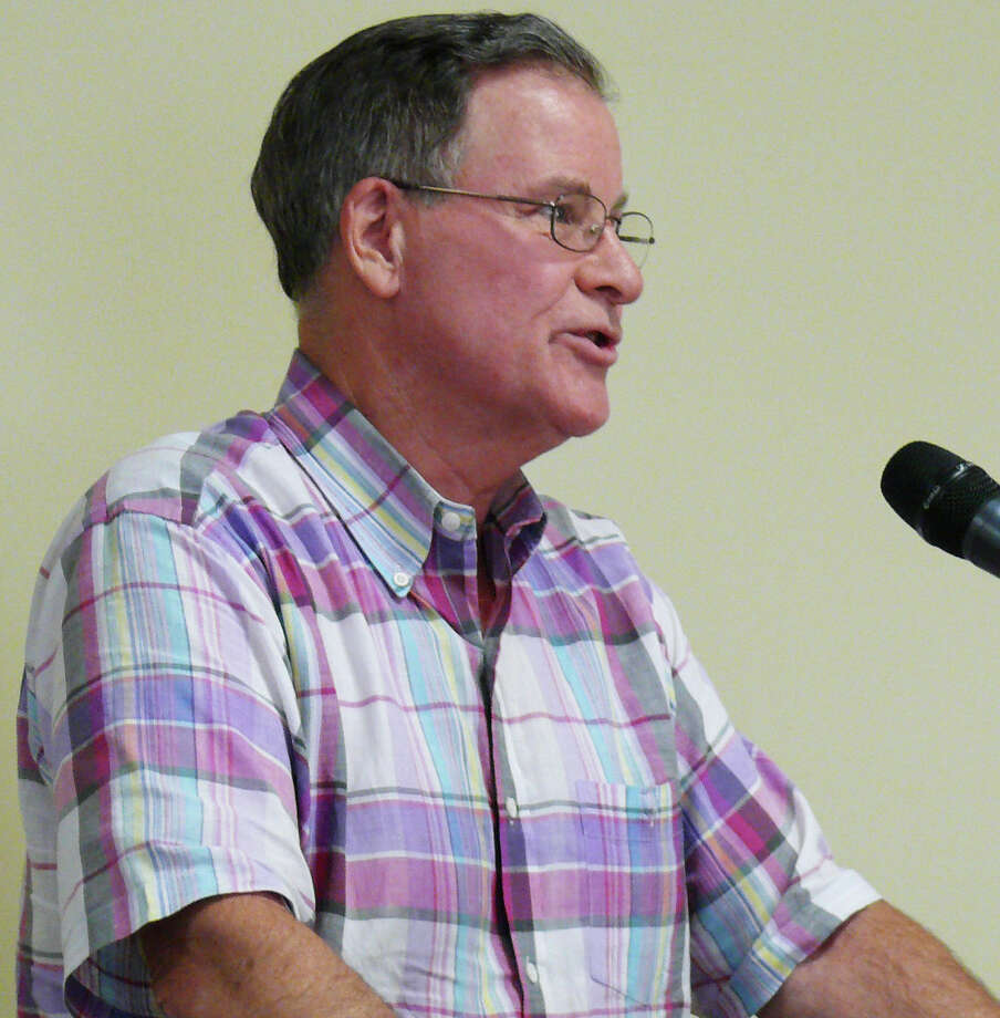 Mill Hill Road resident David Sturges addresses the Board of Selectmen about the importance of the former St. John Vianney property being maintained as open space. Photo: Genevieve Reilly / Fairfield Citizen