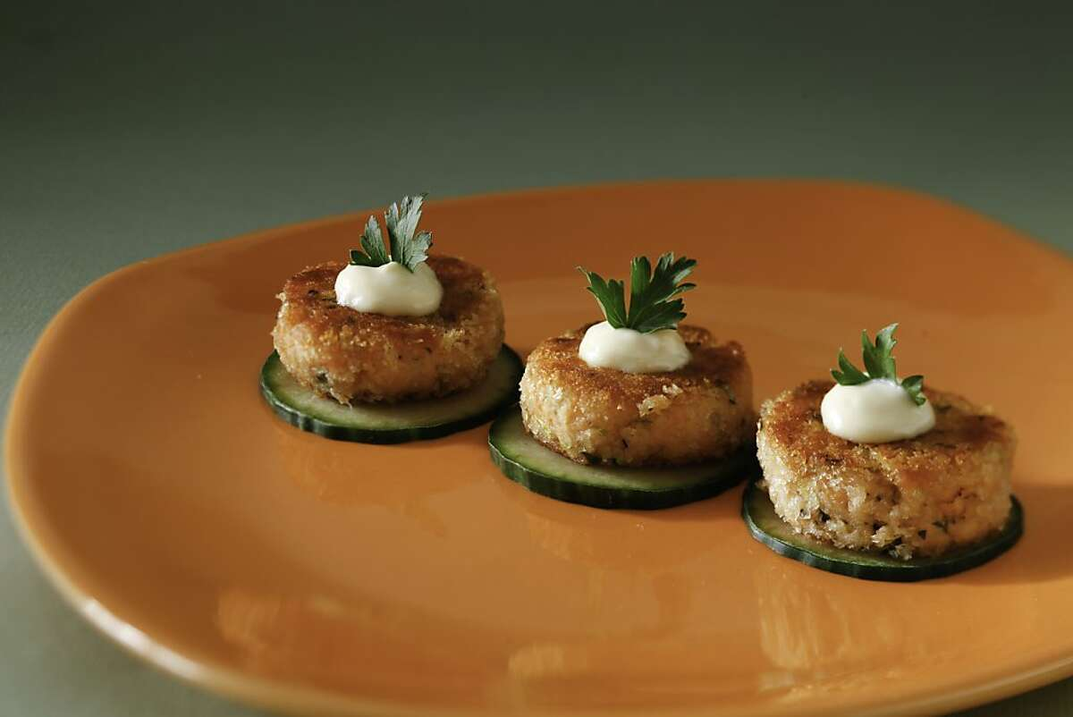 Salmon Cakes with Preserved Meyer Lemon Aioli as seen in San Francisco, California, Wednesday, July 11, 2012. Food styled by Lynne Bennett and Lauren N Reuthinger.