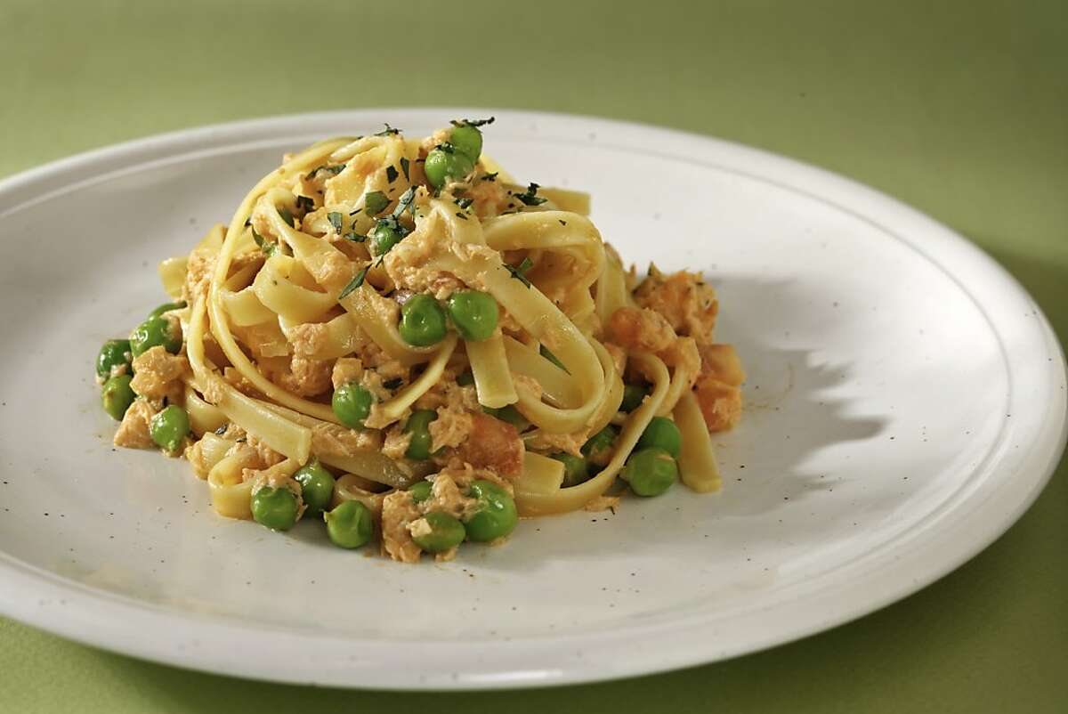 Salmon & Pea Pasta as seen in San Francisco, California, Wednesday, July 11, 2012. Food styled by Lauren N Reuthinger.