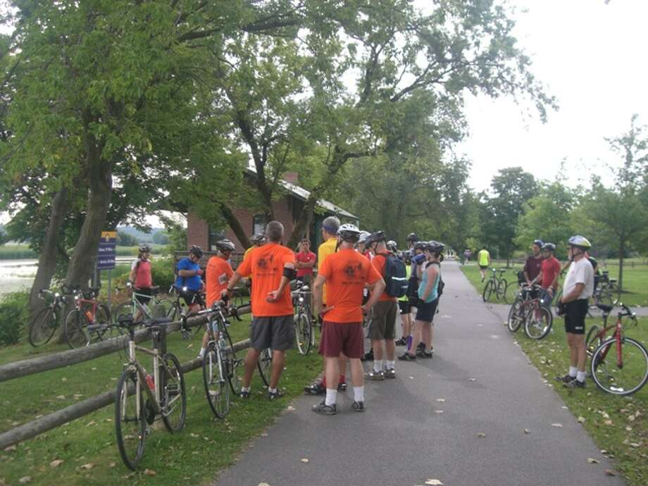 The historic Niskayuna Station is one of several stops during last year's Bike the Byway ride.  Byway volunteers provide brief interpretation at each stop (Courtesy of Mohawk Towpath Scenic Byway)