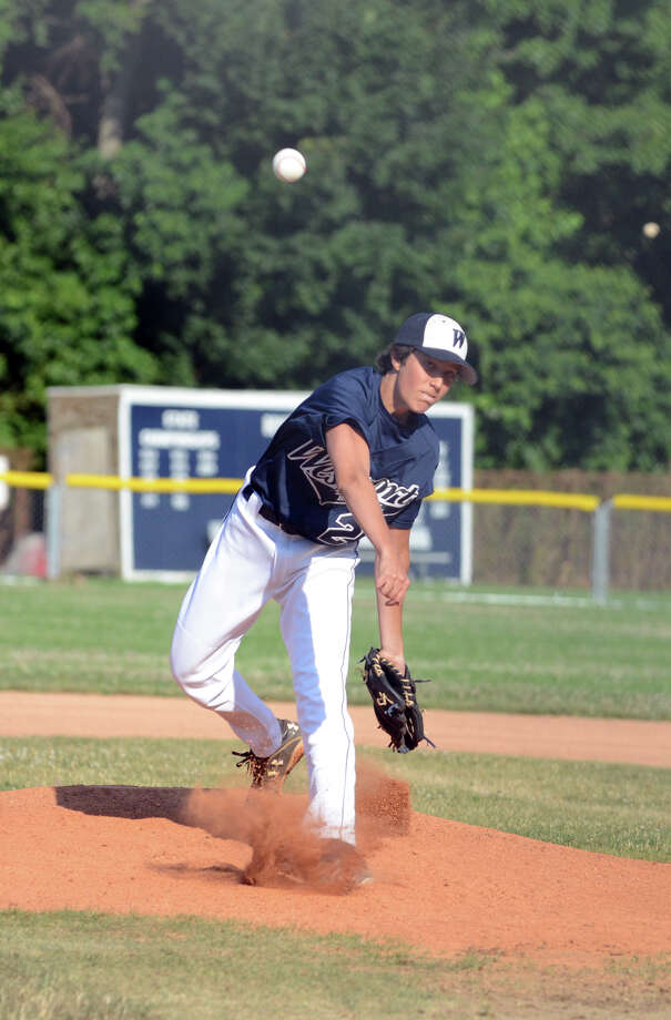 Westport's Anthony Amaro (2) pitches to Fairfield during the Senior legion baseball game at Staples High School in Westport on Tuesday, July 10, 2012. Photo: Amy Mortensen / Connecticut Post Freelance