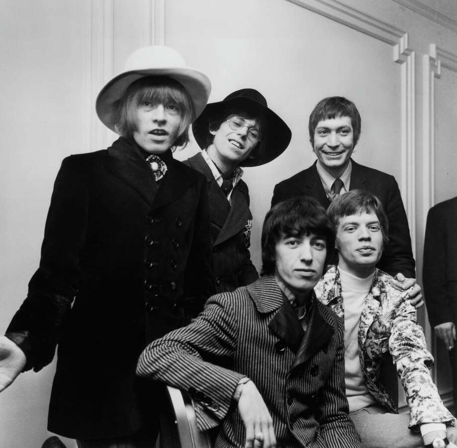By January 1967, The Rolling Stones discovered hats. Really dumb hats. From left to right, Brian Jones (1942 - 1969), Bill Wyman, Charlie Watts, Keith Richards and Mick Jagger. Photo: Keystone, Getty / Hulton Archive