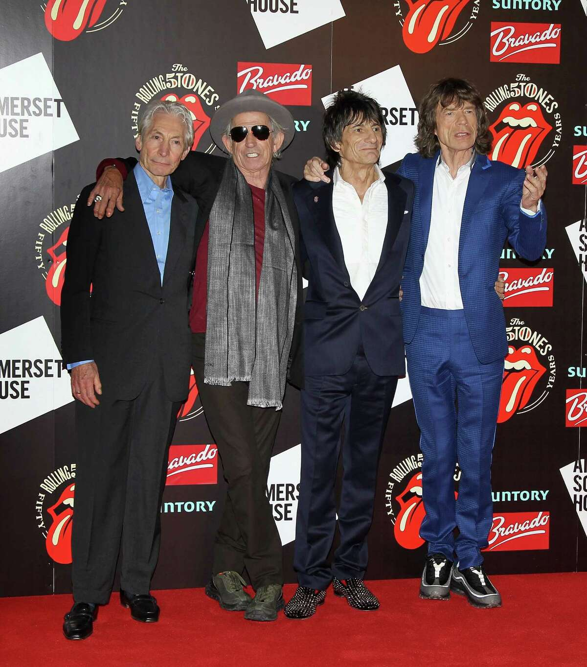 Charlie Watts, Keith Richards, Ronnie Wood and Mick Jagger attend as The Rolling Stones celebrate their 50th anniversary with an exhibition at Somerset House in 2012 in London, England.