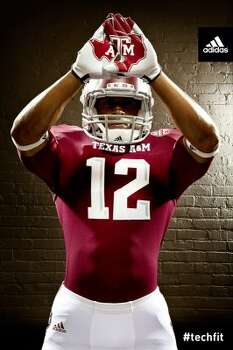 Texas A&M debuted a new Adidas football uniform design for its first season in the Southeastern Conference. The A&M logo over the state of Texas will be on both hips.  (Texas A&M University athletics)