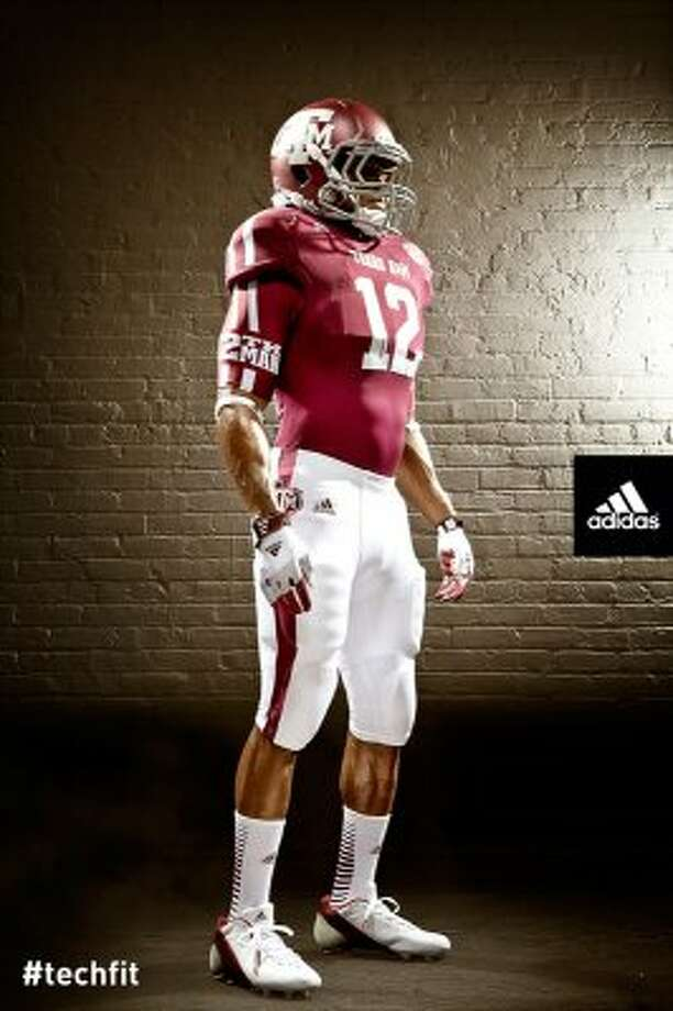 The design features stripes on the shoulder pads that Adidas said they took from the Aggies uniforms from the 1970s.  (Texas A&M University athletics)