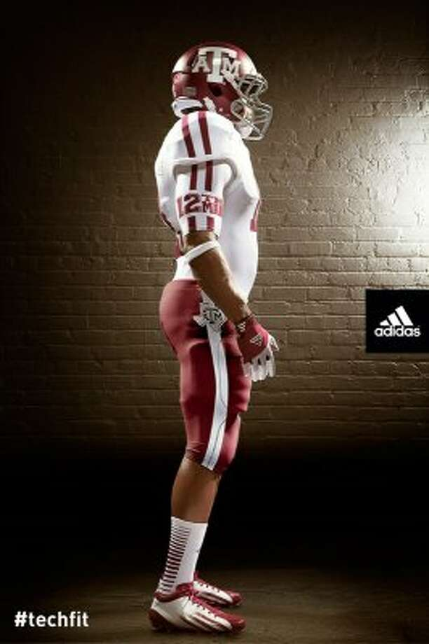 The jerseys have no seams, giving them a sleeker look and making it tough for defenders and offensive linemen to grab.  (Texas A&M University athletics)