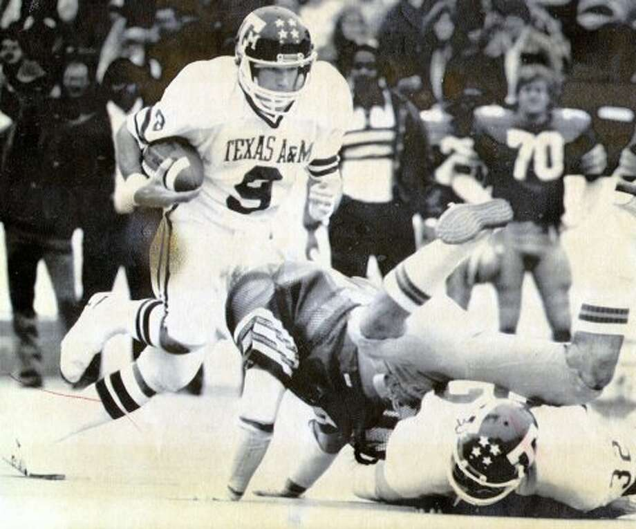 Current Houston Texans coach Gary Kubiak and the Aggies wore white on white with maroon stripes in this road victory at Rice in 1981.