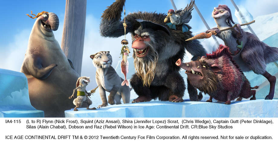(L to R) Flynn (Nick Frost), Squint (Aziz Ansari), Shira (Jennifer Lopez) Scrat,  (Chris Wedge), Captain Gutt (Peter Dinklage), Silas (Alain Chabat), Dobson and Raz (Rebel Wilson) in Ice Age: Continental Drift. Photo: Blue Sky Studios / ICE AGE CONTINENTAL DRIFT TM & © 2012 Twentieth Century Fox Film Corporation. All rights reserved. Not for sale or duplication.