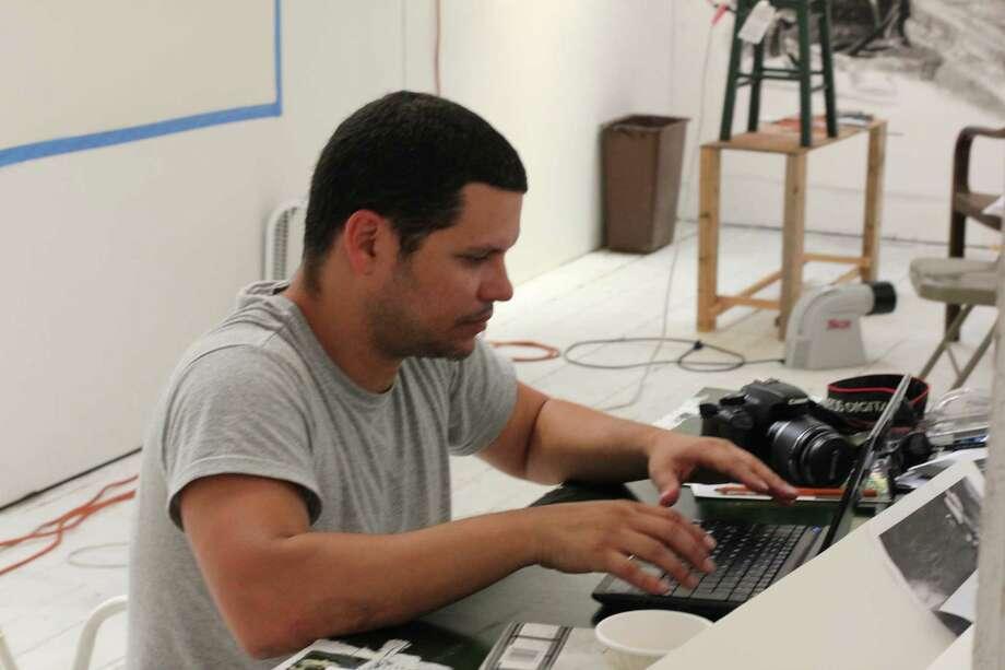 Cuban artist Frank Martinez in his studio at the Art Omi Studio Barn (Courtesy Art Omi)
