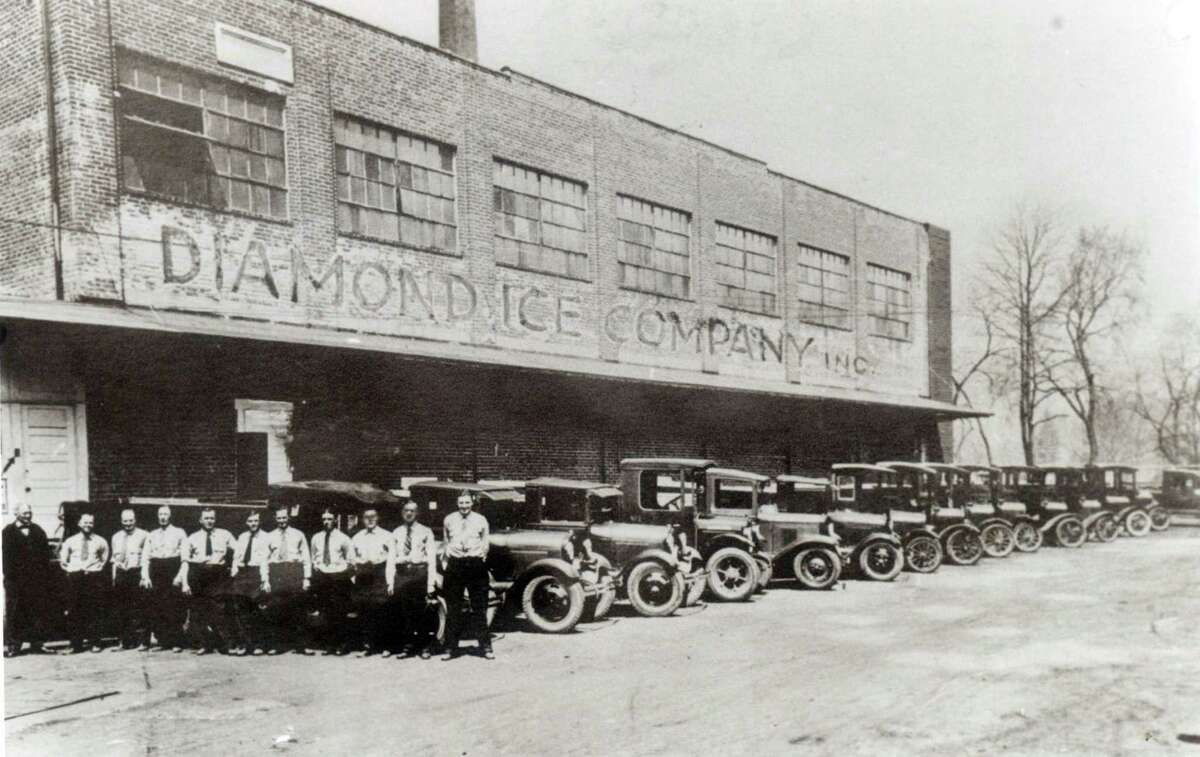 In this photo from, most likely, the 1930's, Diamond Ice delivery drivers line up in front of thier trucks. Courtesy of The Stamford Historical Society.