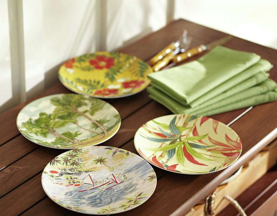 Luau plates are part of a collection of vintage tropical tableware from Pottery Barn (www.potterybarn.com) that would be perfect for a retro Miami cocktail party.  $29.50 for four plates. (AP Photo/Pottery Barn, Eric Piasecki, Brad Knipstein) Photo: Eric Piasecki, Brad Knipstein