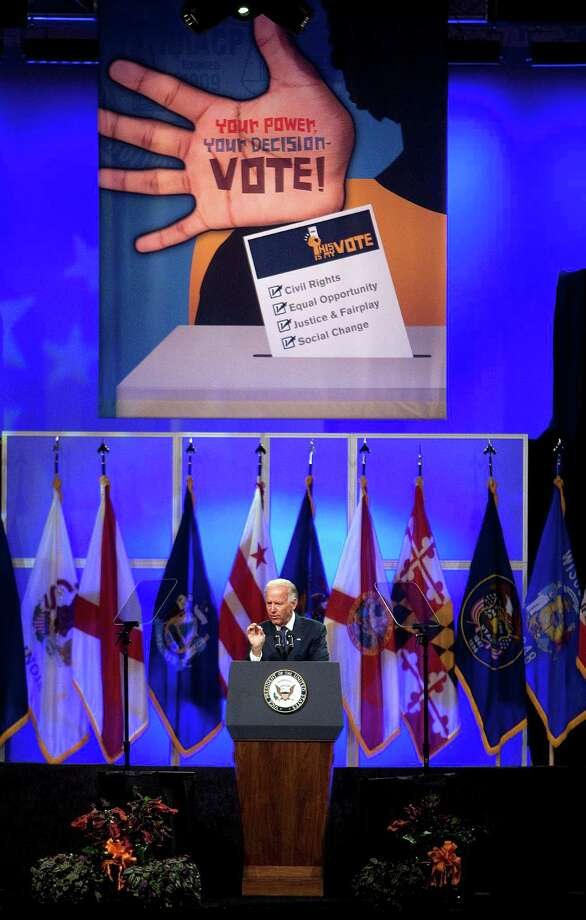 Vice President Joe Biden delivers remarks at the 103rd NAACP National Convention at the George R. Brown Convention Center Thursday, July 12, 2012, in Houston. Photo: Johnny Hanson, Houston Chronicle / © 2012  Houston Chronicle