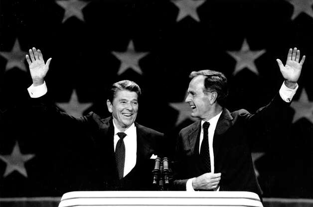A recent nostalgic love-fest for former Presidents Ronald Reagan and George H.W. Bush discards past animosity. Photo: Associated Press File Photo / AP
