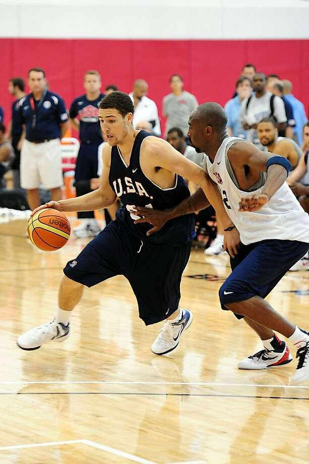 LAS VEGAS, NV - JULY 6:  Klay Thompson of the USA Men's National Select Team drives against Kobe Bryant of the USA Men's National Team during training camp on July 6, 2012 in Las Vegas, Nevada. NOTE TO USER: User expressly acknowledges and agrees that, by downloading and/or using this Photograph, user is consenting to the terms and conditions of the Getty Images License Agreement. Mandatory Copyright Notice: Copyright 2012 NBAE (Photo by Andrew D. Bernstein/NBAE via Getty Images) Photo: Andrew D. Bernstein, NBAE/Getty Images
