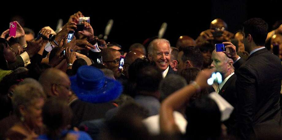 Vice President Joe Biden greets participants after addressing the NAACP annual convention, Thursday, July 12, 2012, in Houston. (AP Photo/Houston Chronicle, Johnny Hanson) Photo: Johnny Hanson, Associated Press