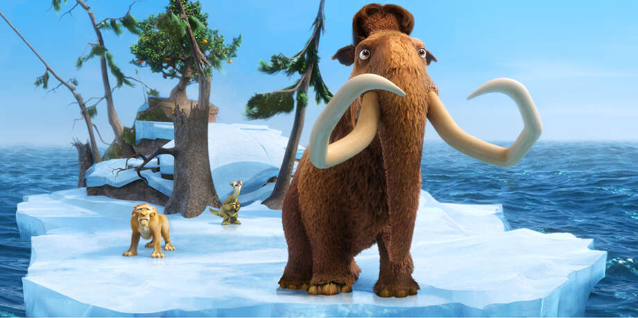 """This image released by 20th Century Fox shows the characters Diego, voiced by Denis Leary, left, Sid, voiced by John Leguizamo and Manny, voiced by Ray Romano in a scene from the animated film, """"Ice Age: Continental Drift."""" (AP Photo/20th Century Fox) Photo: Blue Sky Studios / ICE AGE CONTINENTAL DRIFT TM & © 2012 Twentieth Century Fox Film Corporation. All rights reserved. Not for sale or duplication."""