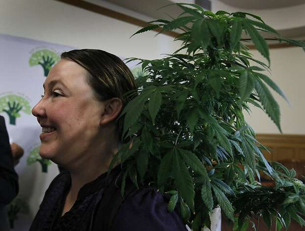Medical marijuana patient Lauren Vazquez carried a cannabis plant in her backpack to a news conference called to criticize the federal government's threatened plan to seize assets and shut down the Harborside Health Center marijuana dispensary in Oakland, Calif. on Thursday, July 12, 2012. Photo: Paul Chinn, The Chronicle