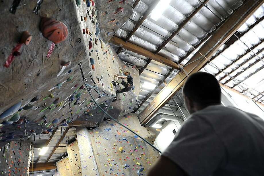 Hans Florine does a quick climb at Diablo Rock Gym, which he manages, in Concord, CA Friday June 22nd, 2012. Hans Florine set a new speed record climbing up the nose of El Capitan on Father's Day in June. Photo: Michael Short, Special To The Chronicle