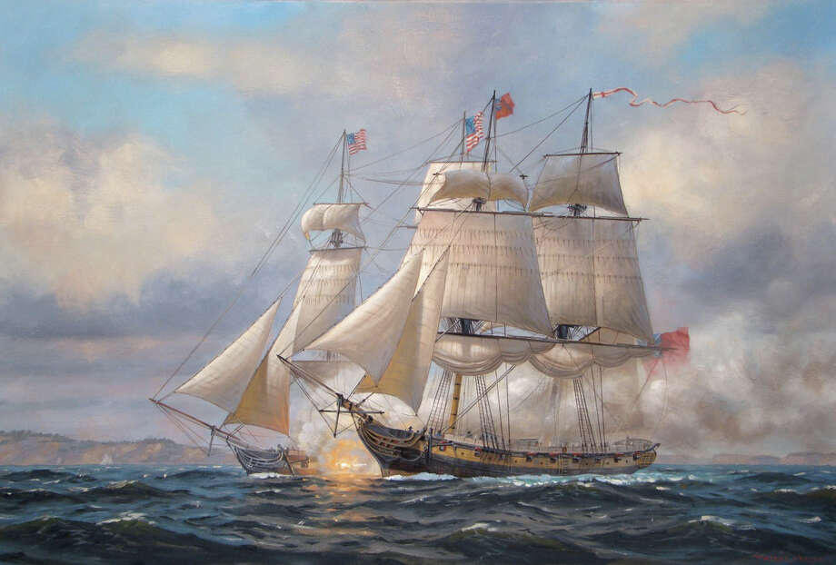 "Above is ""Enterprise vs. Boxer,"" an oil painting by Patrick O'Brien of Fairfield. This piece will be on display at Fairfield Museum and History Center with 15 works by other artists depicting scenes from the War of 1812 during the museum's ìThe War of 1812 at Sea: Marine Paintings from the J. Russell Jinishian Gallery Collection, Fairfield, Conn.î from July 28 to Sept. 9. Photo: Contributed Photo"
