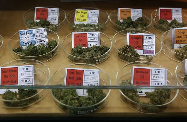 A selection of available medical marijuana is displayed in a glass case at the Harborside Health Center dispensary in Oakland, Calif. on Thursday, July 12, 2012. The Department of Justice served notice that it will seize the assets and shut down Harborside within 20 days. Photo: Paul Chinn, The Chronicle