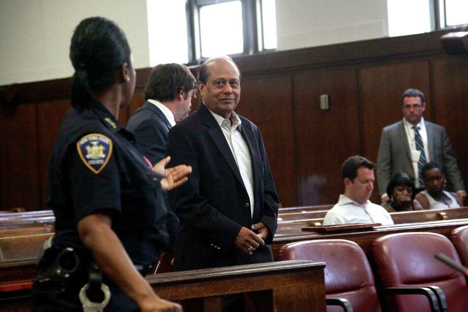 Mukesh Gupta, owner of Raja Jewels, who pleaded guilty to illegal commercialization of wildlife, in Manhattan Criminal Court in New York, July 12, 2012. Gutpa and the owner of another jewelry store pleaded guilty to marketing what prosecutors said was more than $2 million worth of ivory goods. (John Marshall Mantel/The New York Times) Photo: JOHN MARSHALL MANTEL / NYTNS