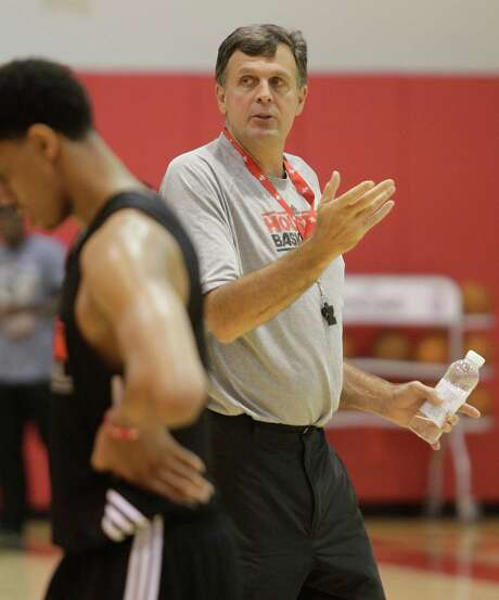 After not having a summer program last year due to the lockout, Rockets coach Kevin McHale is now working with a team of young players who may closely resemble the squad he has to use during the regular season. Photo: Melissa Phillip / © 2012 Houston Chronicle