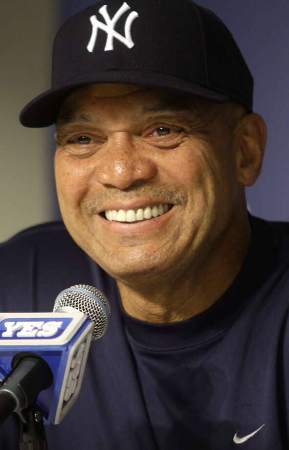 Former New York Yankees player Reggie Jackson responds to questions during a news conference Saturday, July 17, 2010,  in New York. (AP Photo/Frank Franklin II) Photo: Frank Franklin II / AP