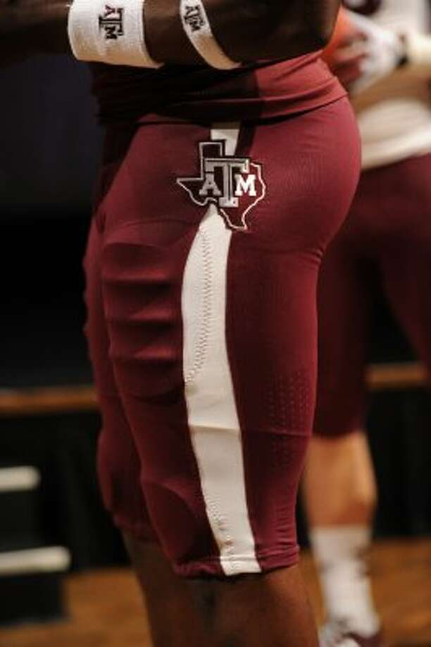 The hips include the A&M logo over the state of Texas.  (Texas A&M University)