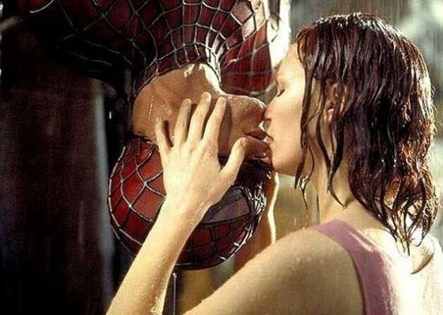 "Tobey Maguire and Kirsten Dunst in ""Spider-Man."""