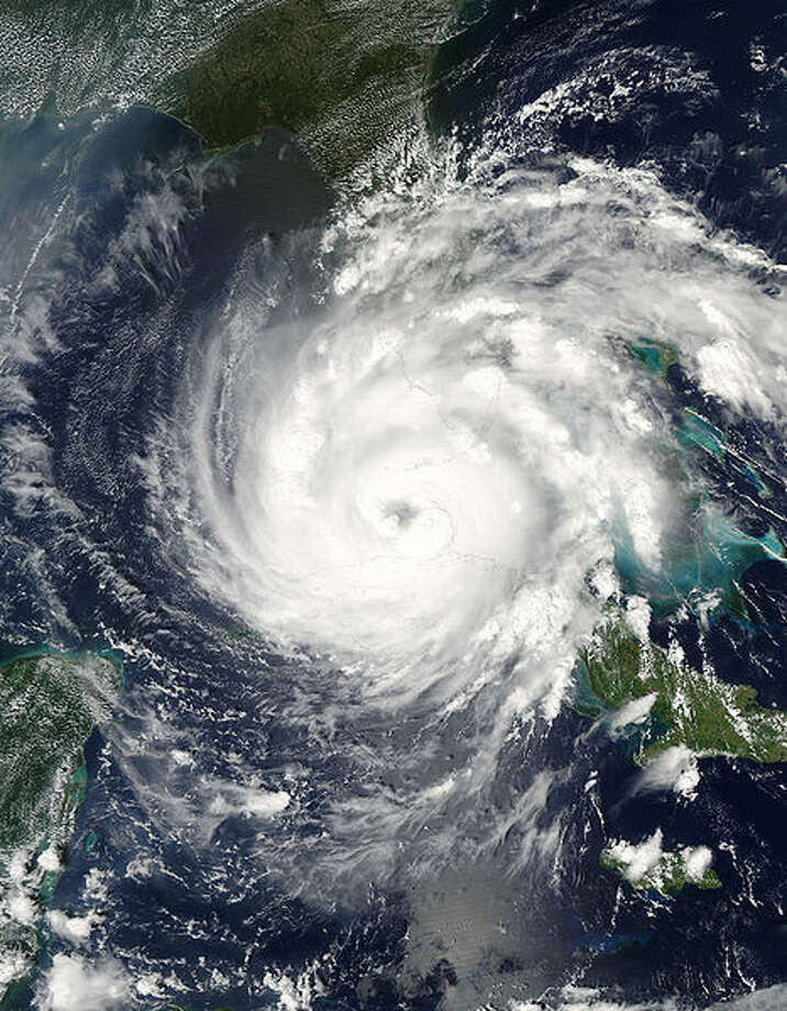 Hurricane Rita passing between Florida and Cuba on September 20, 2005. Winds at the time this image was taken were estimated at 100 mph Photo: NASA