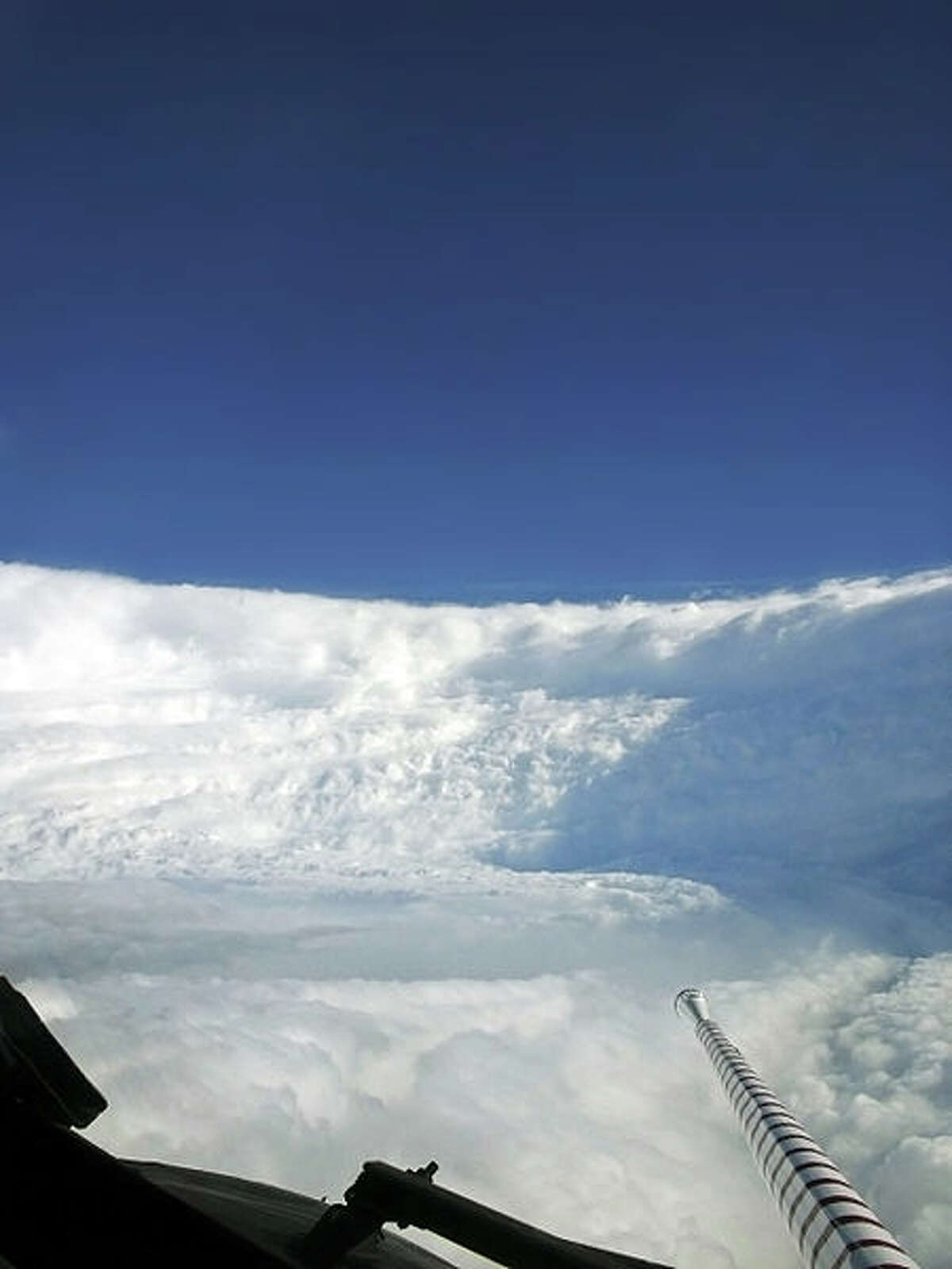 View of the eyewall of w:Hurricane Katrina taken on August 28, 2005, as seen from NOAA WP-3D Orion hurricane hunter aircraft before the storm made landfall on the United States Gulf Coast.