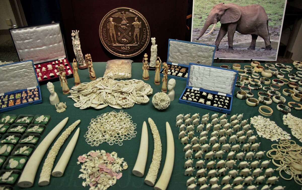 Jewelry and carvings are displayed during a press conference where Manhattan District Attorney Cyrus R. Vance, Jr., announced the guilty pleas of two ivory dealers and their businesses for selling and offering for sale illegal elephant ivory with a retail value of more than $2 million on Thursday, July 12, 2012 in New York.