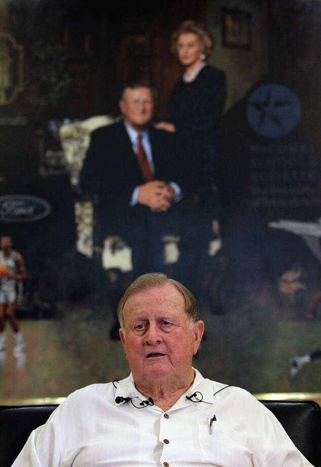 "B.J. ""Red"" McCombs announces the formation of a fundraising effort to raise $100,000 for UTSA graduate student Andrew Oberle on Thursday, July 5, 2012. McCombs was moved after learning of Oberle's horrendous injuries from being mauled by chimpanzees at the South African sanctuary, the Jane Goodall Institute South Africa Chimpanzee Eden, earlier last week. McCombs was further impressed by the efforts of Anthony and Marissa Reimherr - friends of Oberle - to raise money for medical expenses and thus McCombs wanted to help in raising money for the injured student. McCombs kicked in $5,000 to start the effort. Photo: Kin Man Hui, SAN ANTONIO EXPRESS-NEWS / ©2012 SAN ANTONIO EXPRESS-NEWS"