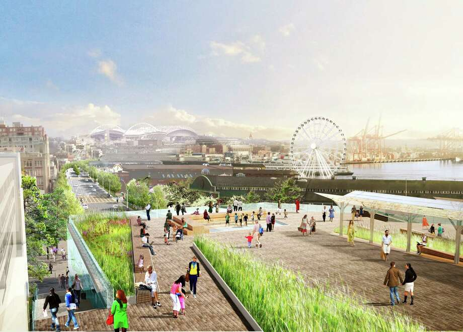 """A walkway with """"dramatic, elevated views"""" would connect people from the Pike Place Market to the Seattle Aquarium and a waterfront park. Photo: Courtesy Of City Of Seattle And James Corner Field Operations"""