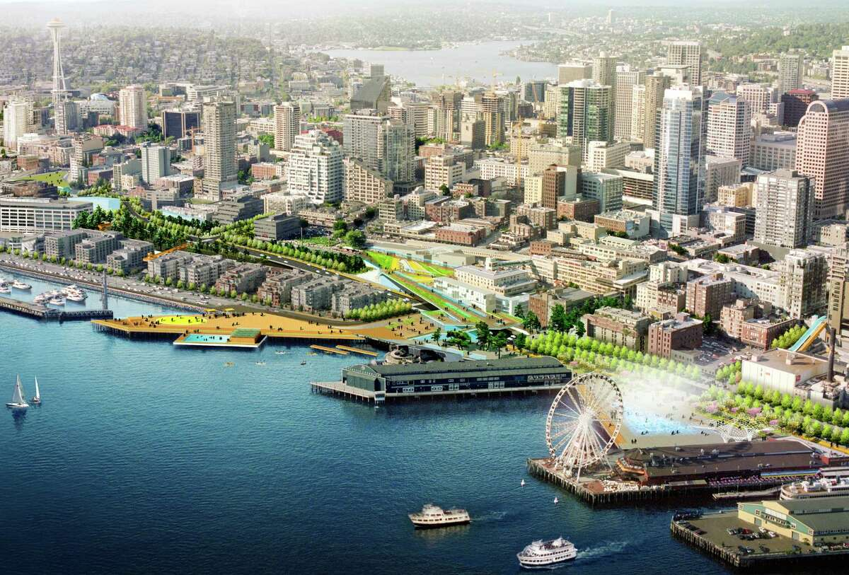 Through the waterfront design process, Seattle residents say they wanted views of Elliott Bay preserved, open spaces and parks, entertainment and better connections for pedestrians, bikes and transit. Landscape architect James Corner said of this rendering: