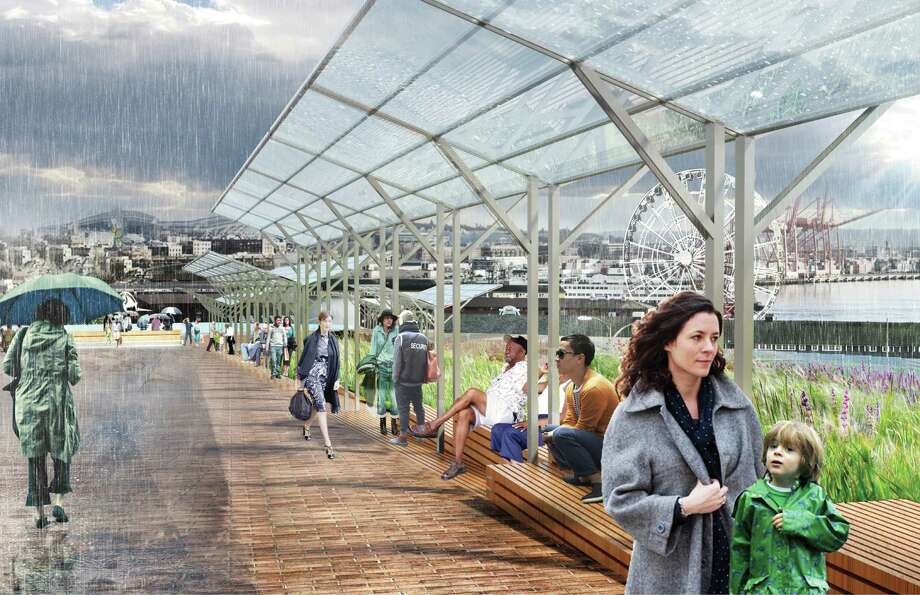 Here, we see the waterfront design takes into account that it rains a lot in Seattle. Canopies have been incorporated into the design so residents can enjoy the waterfront's amenities in bad weather. Photo: Courtesy Of City Of Seattle And James Corner Field Operations
