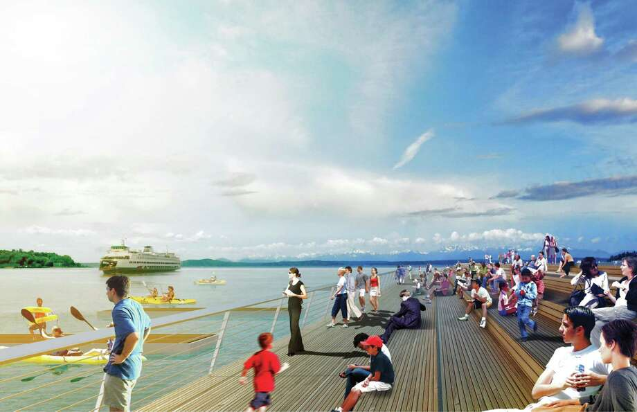 Seattle piers would be abuzz with new activities, including concerts, a roller-skating rink, kayak launch, and even a heated swimming pool on a moveable barge that could be retrofitted for outdoor concerts. Photo: Courtesy Of City Of Seattle And James Corner Field Operations