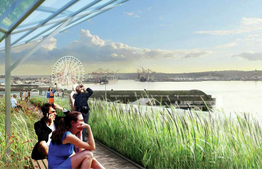 """The """"Overlook Walk,"""" pictured, is the signature element of the city of Seattle's waterfront development. It's a massive plan that will connect the Pike Place Market to the waterfront, with walkways, stairs, plazas and paths. The Overlook Walk's conceptual design was approved in June of 2014. Photo: Courtesy Of City Of Seattle And James Corner Field Operations"""