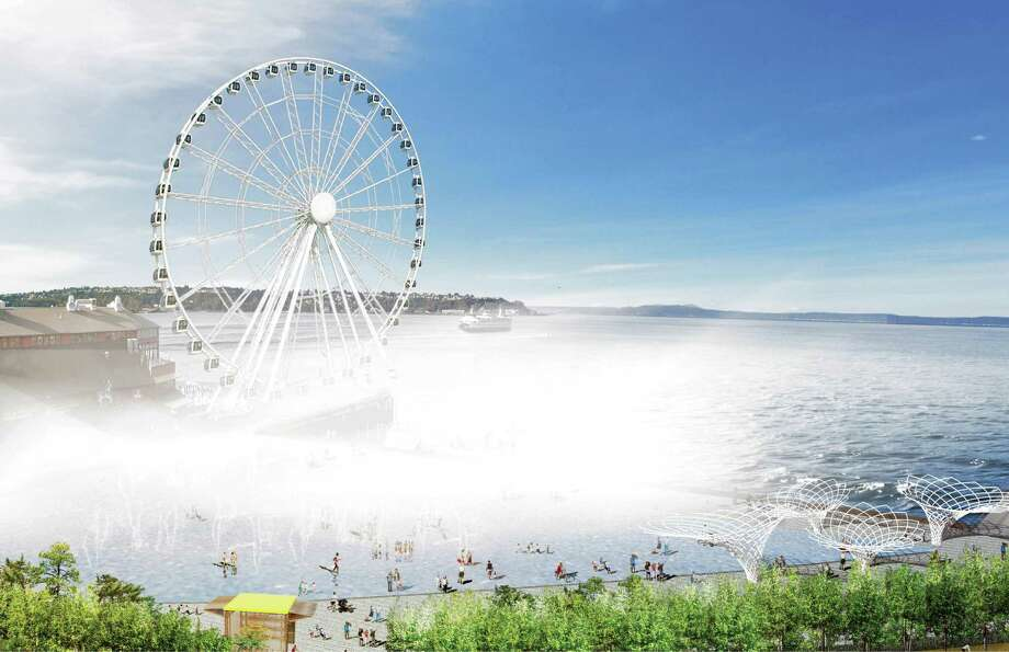 "Beneath the new Ferris wheel, Comer envisions a mist generator for sunny days along a new Union Street pier to create an ""atmospheric threshold between the city and the water."" Photo: Courtesy Of City Of Seattle And James Corner Field Operations"